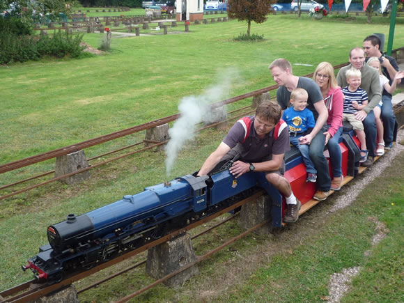 Visitors hauled by a steam train